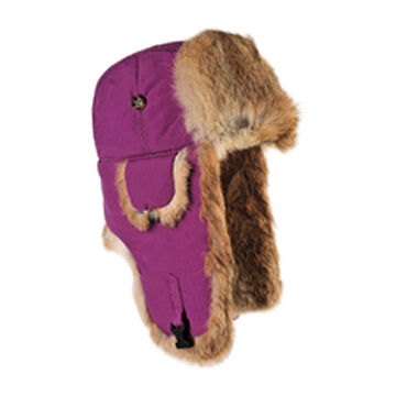 Mad Bomber Womens Supplex Bomber Hat with Brown Rabbit Fur