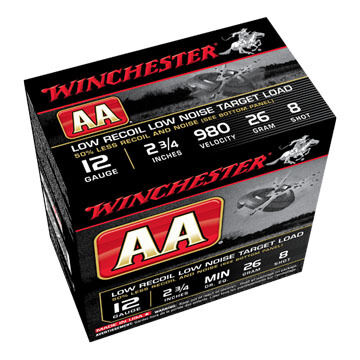 "Winchester AA Target Low Recoil Low Noise 12 GA 2-3/4"" 26 Grain Shotshell Ammo (25)"