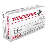 Winchester USA 25 Automatic 50 Grain FMJ Handgun Ammo (50)