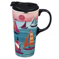 Evergreen Sailboats Ceramic Travel Cup w/ Lid