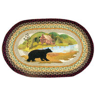 Capitol Earth Cabin Bear Oval Patch Braided Rug