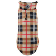 The Worthy Dog Fargo Fleece Tan Plaid Reversible Dog Jacket