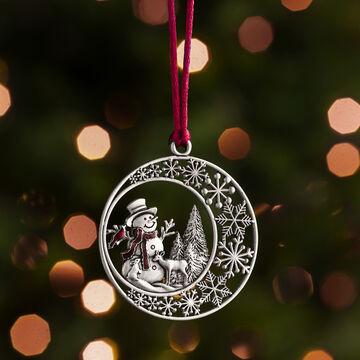 Evergreen Pewter Winter Snowman Ornament