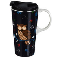 Evergreen Everyday Owl Ceramic Travel Cup w/ Lid