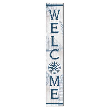 My Word! Welcome - Nautical Compass Rose Porch Board
