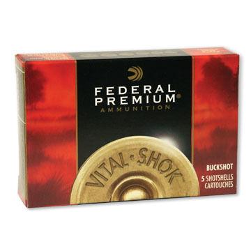 "Federal Premium Vital-Shok Buckshot 20 GA 3"" 18 Pellet #2 Shotshell Ammo (5)"
