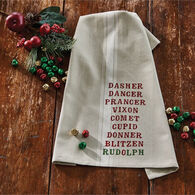 Park Designs Reindeer Names Printed Dish Towel