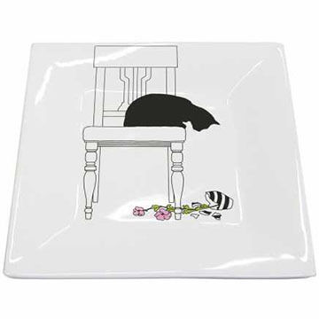 Paperproducts Design Black Cat Vase Plate