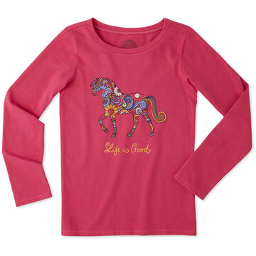 Life is Good Girl's Flower Swirl Horse Crusher Long-Sleeve Shirt