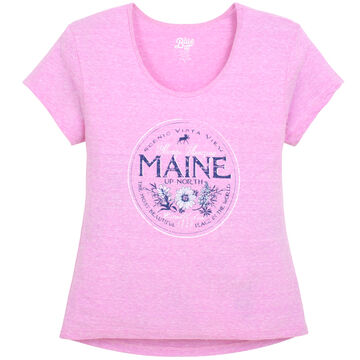Lakeshirts Womens Blue 84 Go Back In Time Maine Short-Sleeve T-Shirt
