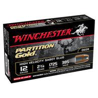 "Winchester Partition Gold 12 GA 2-3/4"" 385 Grain Sabot Slug Ammo (5)"