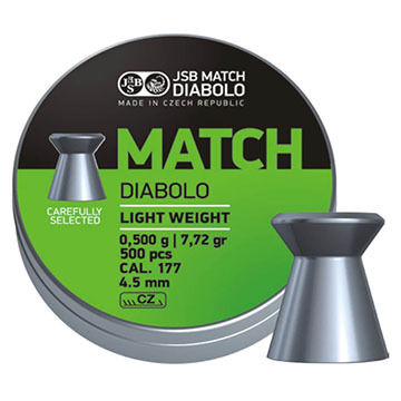 JSB Match Diabolo Green Match Light Weight 177 Cal. 4.5mm 7.33 Grain Air Gun Pellet (500)