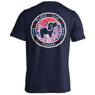 Puppie Love Women's Red, White, & Blue Tie Dye Fill Pup Short-Sleeve T-Shirt