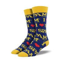 Socksmith Design Men's I Heart Spam Crew Sock