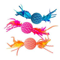 Spot Elasteeez Ball w/ Feathers Cat Toy