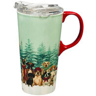 Evergreen Royal Pups Holiday Ceramic Travel Cup w/ Lid