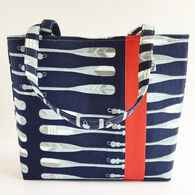 Little Man Women's Oars Print Fabric Workforce Vegan Tote Bag