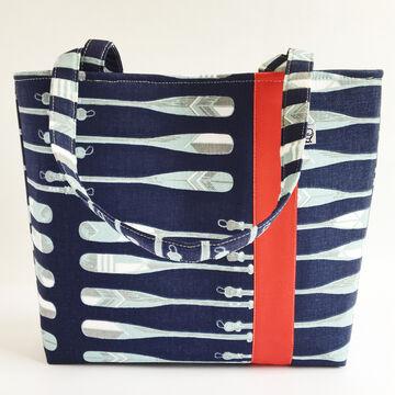Little Man Womens Oars Print Fabric Workforce Vegan Tote Bag