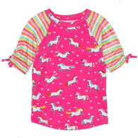 Hatley Girl's Prancing Unicorns Short-Sleeve Rashguard Top