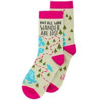 Karma Women's Not All Who Wander Are Lost Crew Sock