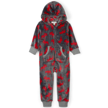 Hatley Toddler Little Blue House Moose On Charcoal Hooded Fleece Jumpsuit