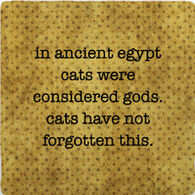 Paisley & Parsley Designs Ancient Egypt Cats Were Gods Marble Tile Coaster