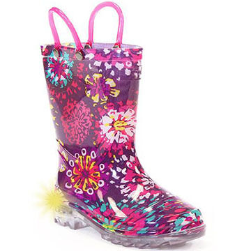 Western Chief Girls' Abstract Bloom Lighted Rain Boot