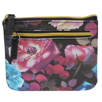 Buxton Womens Midnight Roses - RFID Large Coin Card Case