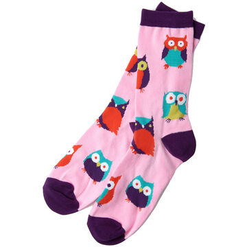 Hatley Little Blue House Womens Party Owls Crew Sock