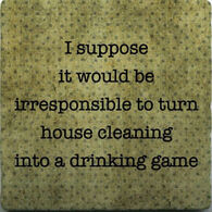 Paisley & Parsley Designs House Cleaning Drinking Game Marble Tiles Coaster
