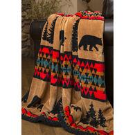 Carstens Inc. Bear Trails Plush Black Sherpa Rustic Cabin Fleece Throw Blanket