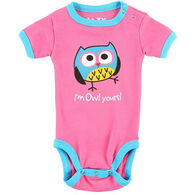 Lazy One Infant Girls' Owl Yours Pink Creeper