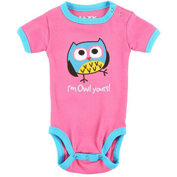 Lazy One Infant Girls Owl Yours Pink Creeper