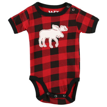 Lazy One Infant Moose Plaid Applique Creeper