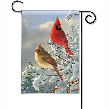 BreezeArt Winter Cardinals Garden Flag