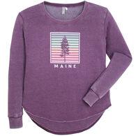 Techstyles Women's Maine Shutters Crew Neck Tunic Sweatshirt