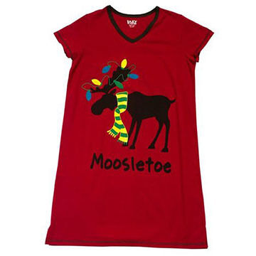 Lazy One Women's Mooseltoe Fitted Sleep T-Shirt