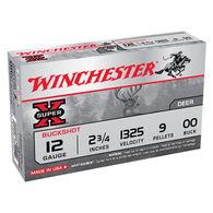 "Winchester Super-X 12 GA 2-3/4"" 9 Pellet #00 Buckshot Ammo (5)"