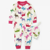 Hatley Girls' Little Blue House Patterned Moose Coverall with Hat