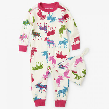Hatley Girls Little Blue House Patterned Moose Coverall with Hat