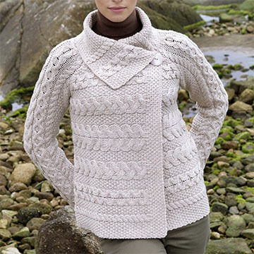 Aran Crafts Womens One Button Horizontal Knit Irish Cardigan Sweater