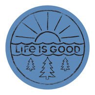 """Life is Good Sunrise Forest 4"""" Circle Sticker"""