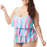 Beach House - Gabar - Swimwear Anywhere Women's Plus Size Jane Ruffle Sunrise to Sunset Tankini Top Swimsuit