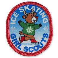 Girl Scouts Ice Skating Moose Sew-On Fun Patch