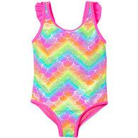 Breaking Wave Toddler Girl's Mermaid Shine One-Piece Swimsuit