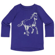 Carhartt Infant/Toddler Girls' Glitter Horse Long-Sleeve Shirt