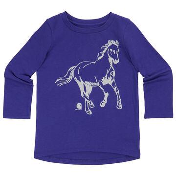 Carhartt Infant/Toddler Girls' Glitter Horse Long-Sleeve Shirt