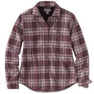 Carhartt Women's Rugged Flex Relaxed Fit Flannel Fleece-Lined Plaid Long-Sleeve Shirt