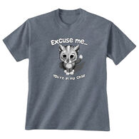 Earth Sun Moon Trading Women's Excuse Me Cat Short-Sleeve T-Shirt