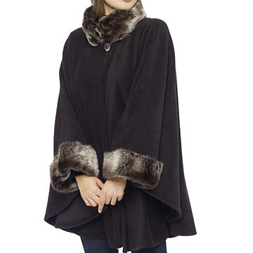 Parkhurst Womens Ruana Cape With Faux Fur Trim